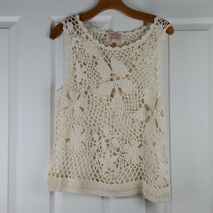 Tops - Skies Are Blue - Cream Crocheted Tank - Medium